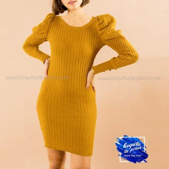 vestido ajustado mangas abullonadas mostaza
