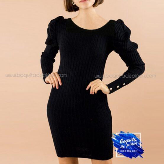 vestido ajustado mangas abullonadas negro