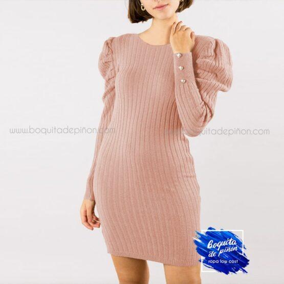 vestido ajustado mangas abullonadas rosa clarito