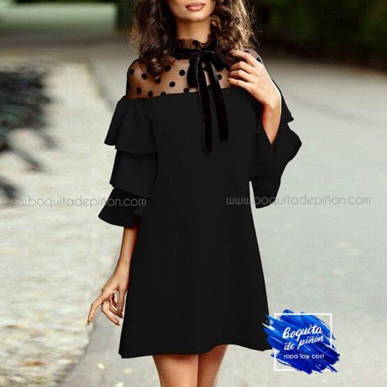 vestido de fiesta corto negro granate