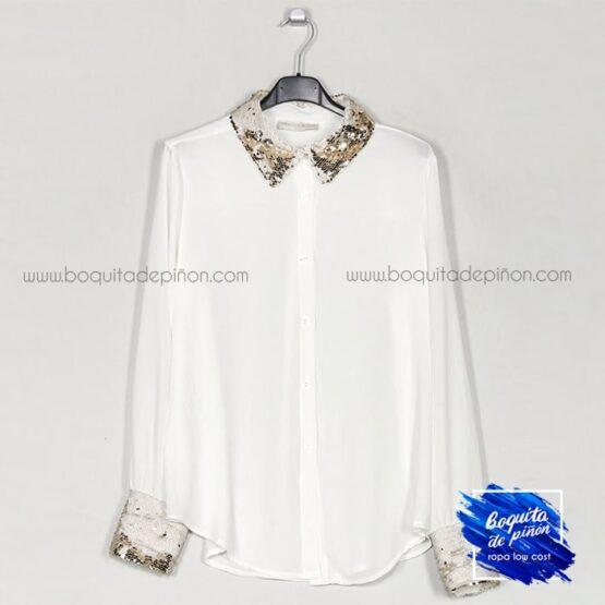 camisa fiesta con lentejuelas blanca