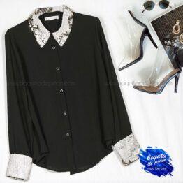 camisa fiesta con lentejuelas negra