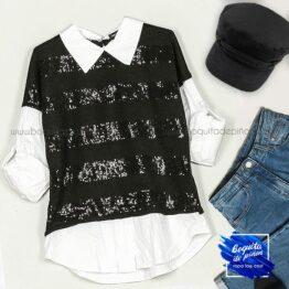 jersey lentejuelas efecto camisa negro