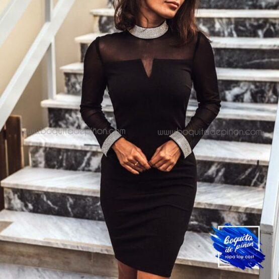 vestido de fiesta manga larga tul negro
