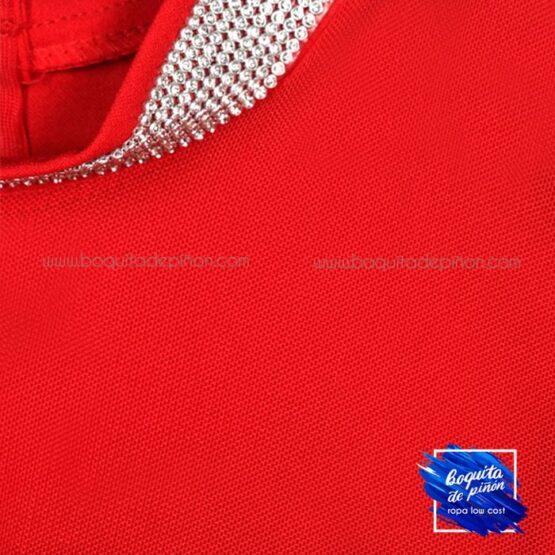 vestido de fiesta manga larga tul rojo