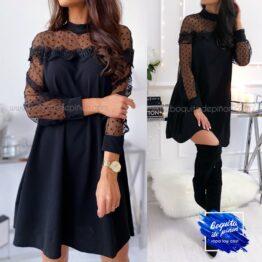 vestido fiesta encaje con plumeti negro