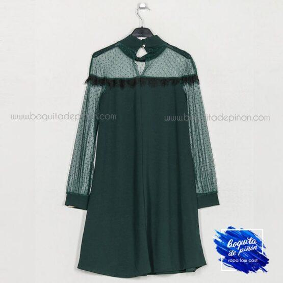 vestido fiesta encaje con plumeti verde