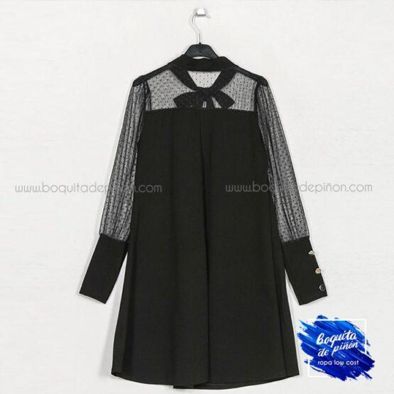 vestido fiesta plumeti lazo negro