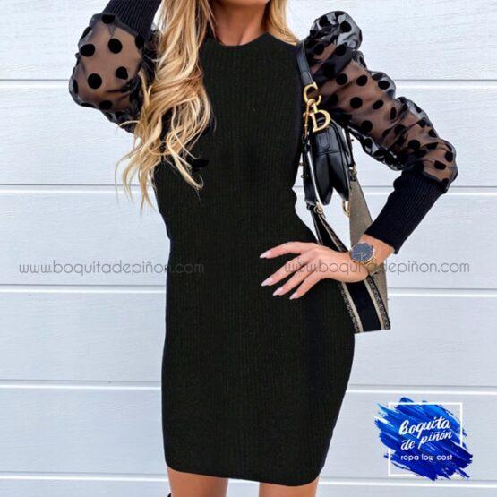 vestido manga gasa lunares negro