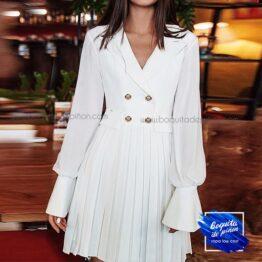 vestido plisado con botones blanco