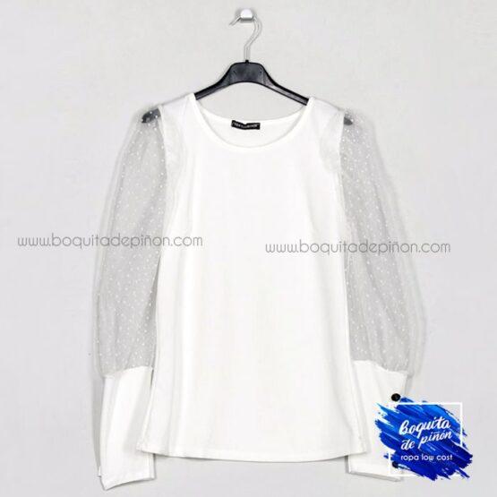 blusa mangas plumeti blanca