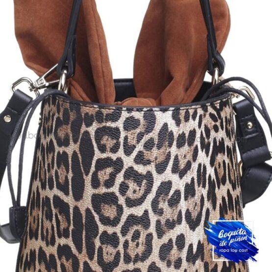 Bolso saco leopardo estampado animal print