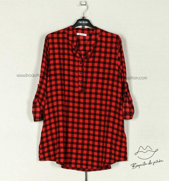 blusa cuadros vichy rojo y negro